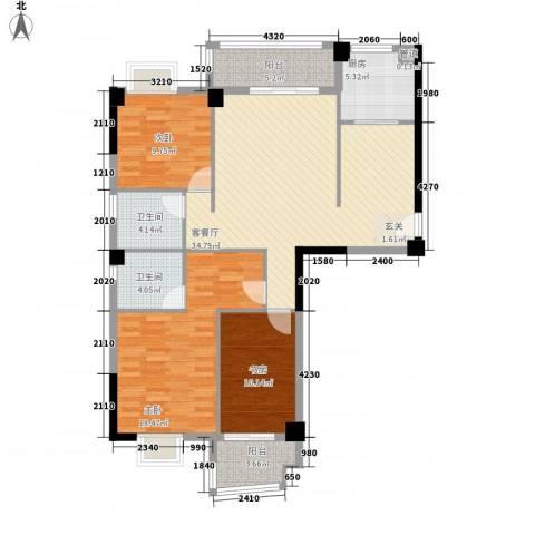福湾新城夏雨苑A区3室1厅2卫1厨96.00㎡户型图