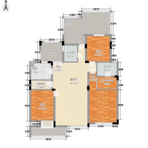 盛世新城3室1厅2卫1厨136.00㎡户型图