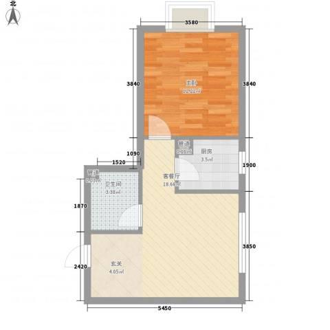九里庭院1室1厅1卫1厨54.00㎡户型图