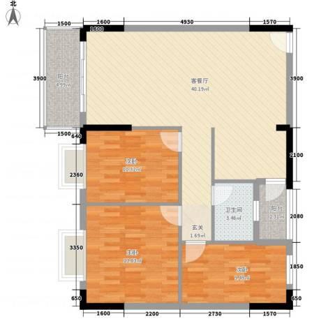 东汇家园3室1厅1卫0厨118.00㎡户型图