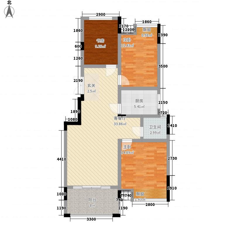 公园道1号1.10㎡2#E2户型3室2厅1卫1厨