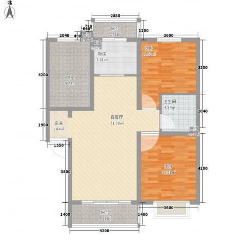 亚泰・洋房墅院2室1厅1卫1厨119.00㎡户型图