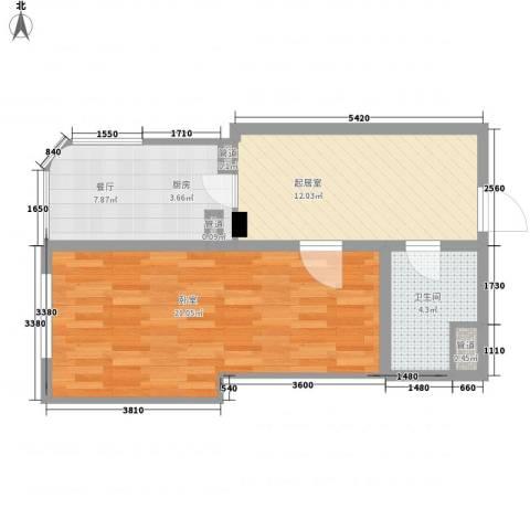 云顶国际公馆1厅1卫0厨65.00㎡户型图