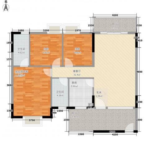 湖畔山庄3室1厅2卫1厨112.65㎡户型图