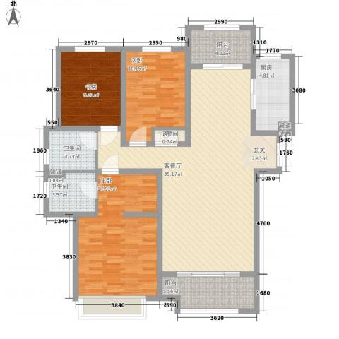 九源・书香园3室1厅2卫1厨144.00㎡户型图