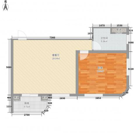 云顶国际公馆1厅1卫1厨78.00㎡户型图