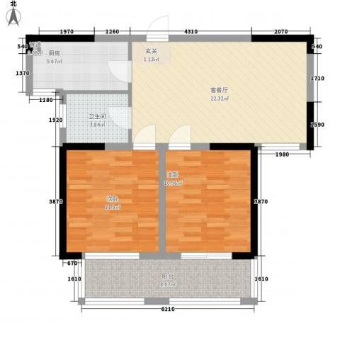 盛世新城2室1厅1卫1厨89.00㎡户型图