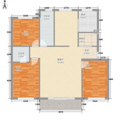 金海明珠3室1厅2卫1厨137.00㎡户型图