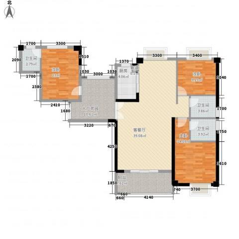 泉舜泉水湾二期3室1厅3卫1厨153.00㎡户型图