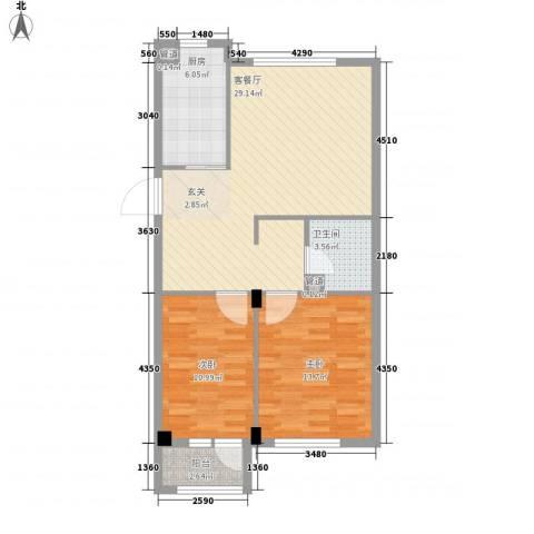 二十里景致2室1厅1卫1厨93.00㎡户型图