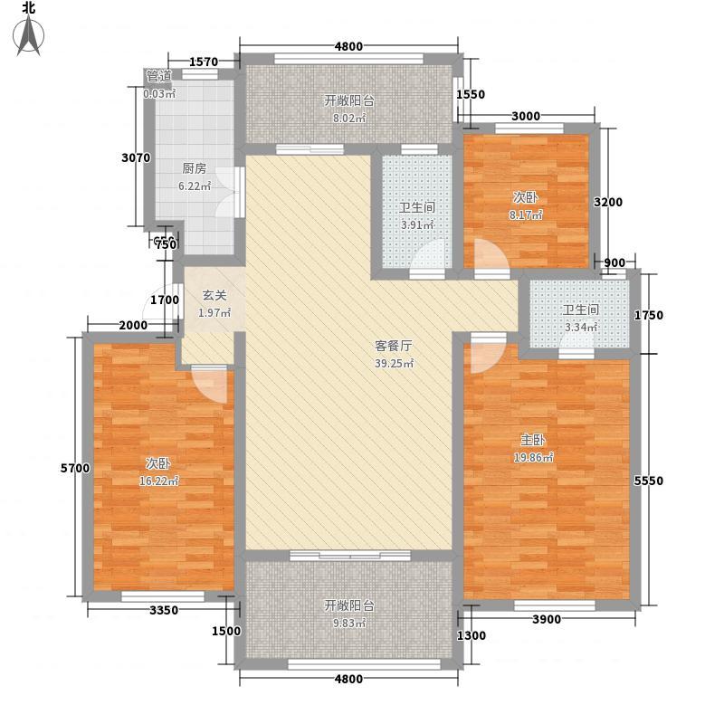 湛园一期洋房17#、18#楼C户型3室2厅2卫1厨