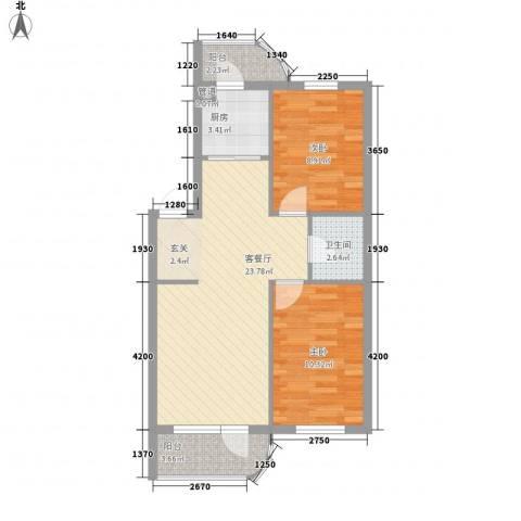 金海明珠2室1厅1卫1厨78.00㎡户型图