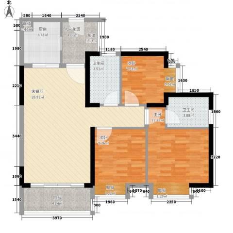 佳兆业水岸华都3室1厅2卫1厨78.67㎡户型图