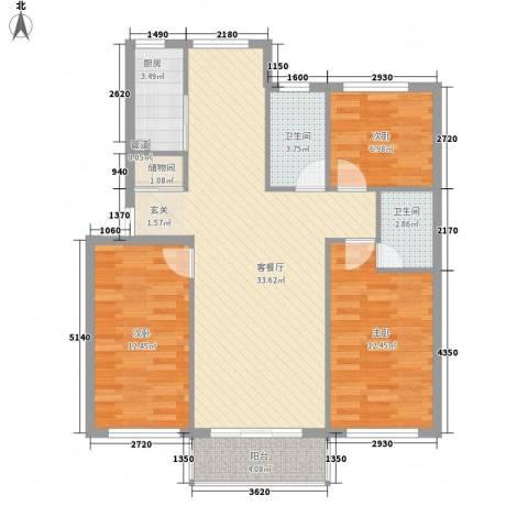 金海明珠3室1厅2卫1厨113.00㎡户型图