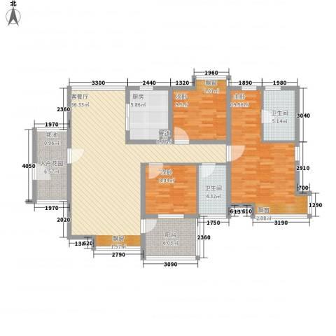 佳兆业水岸华都3室1厅2卫1厨101.51㎡户型图