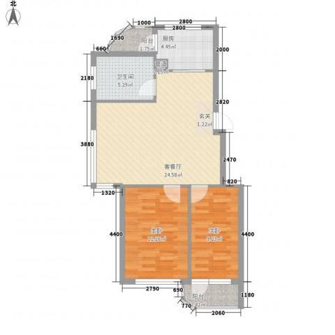金海明珠2室1厅1卫1厨85.00㎡户型图