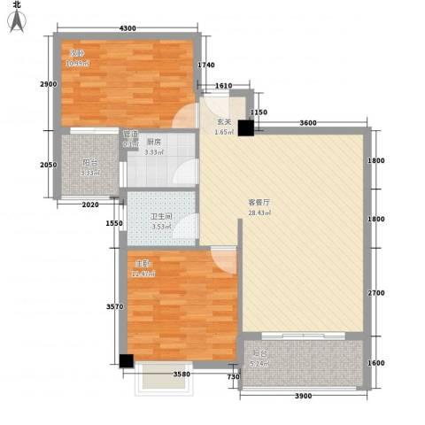泉舜泉水湾二期2室1厅1卫1厨94.00㎡户型图