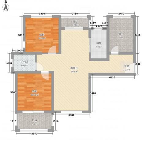 国润溪香米兰2室1厅1卫1厨105.00㎡户型图
