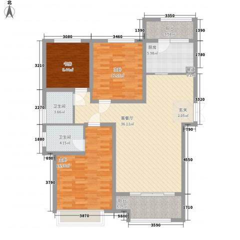 九源・书香园3室1厅2卫1厨138.00㎡户型图