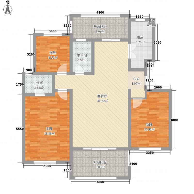 湛园136.00㎡一期洋房5#、8-19#楼B户型3室2厅2卫1厨