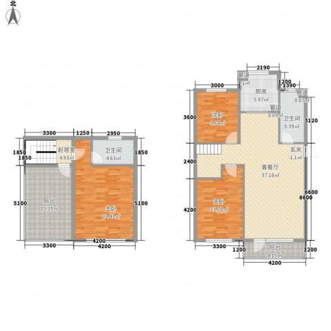 柏林水郡3室1厅2卫1厨125.00㎡户型图