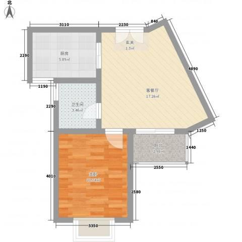 宝盛钻石半岛1室1厅1卫1厨60.00㎡户型图
