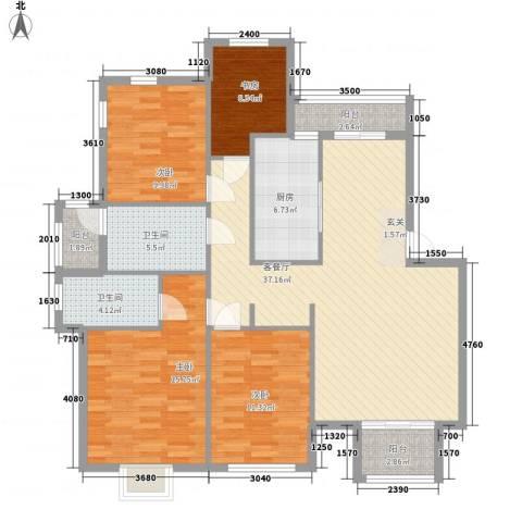 天水华都4室1厅2卫1厨147.00㎡户型图