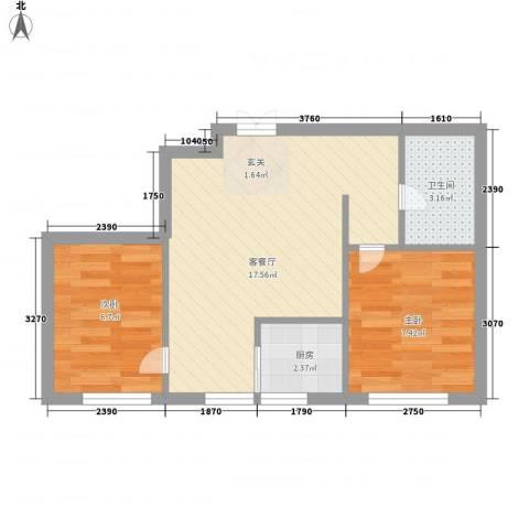 林韵春天2室1厅1卫1厨53.00㎡户型图