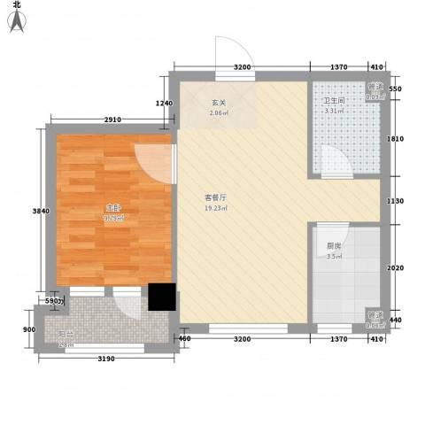 二十里景致1室1厅1卫1厨56.00㎡户型图
