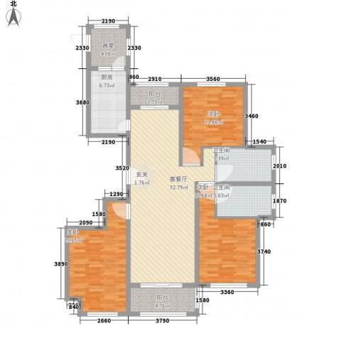 国润溪香米兰3室1厅2卫1厨146.00㎡户型图