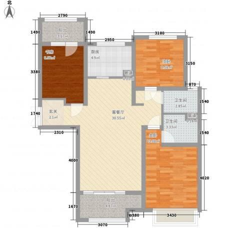 九源・书香园3室1厅2卫1厨118.00㎡户型图