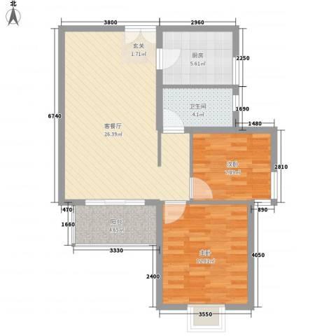 宝盛钻石半岛2室1厅1卫1厨87.00㎡户型图