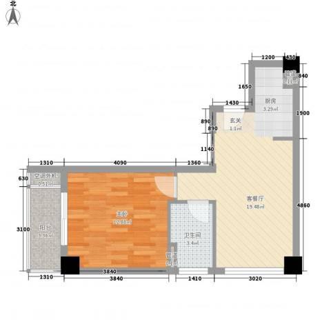 中央公寓1室1厅1卫0厨46.20㎡户型图