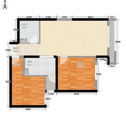 巨华世纪城二期和谐园2室1厅1卫1厨98.00㎡户型图