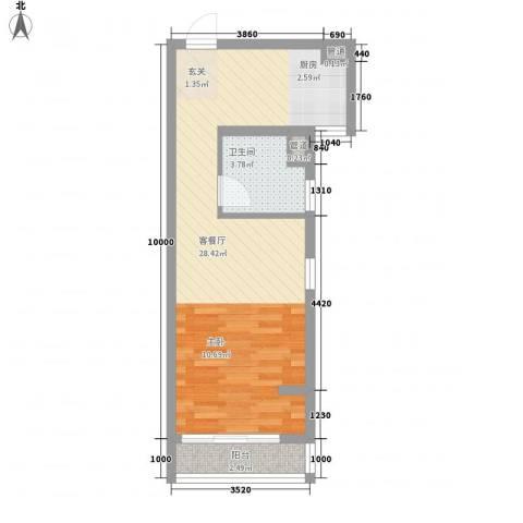 花苑小区1厅1卫0厨42.00㎡户型图