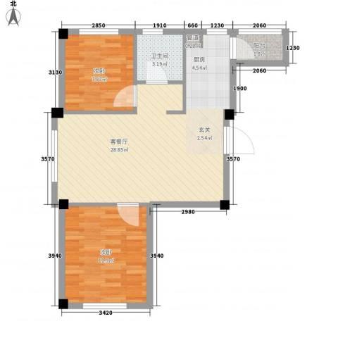 二十里景致2室1厅1卫0厨76.00㎡户型图