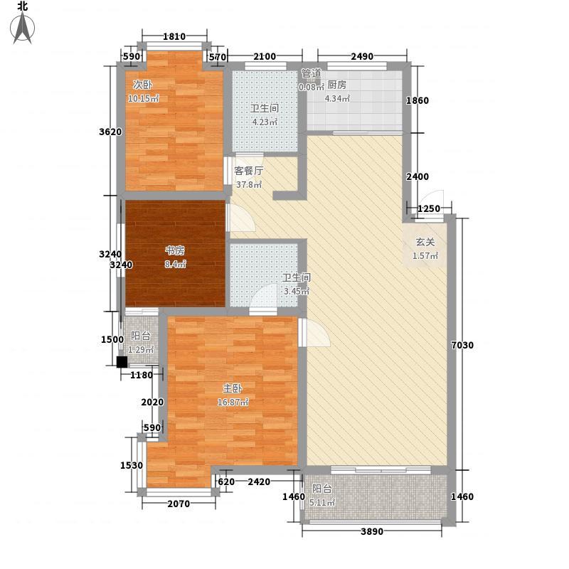 冠达豪景苑110.40㎡冠达豪景苑户型图B3室2厅2卫1厨户型3室2厅2卫1厨