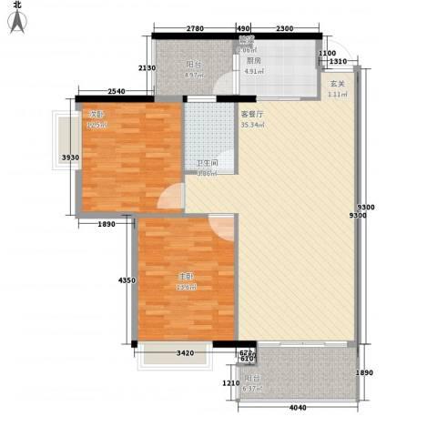 塘厦东港城2室1厅1卫1厨81.60㎡户型图