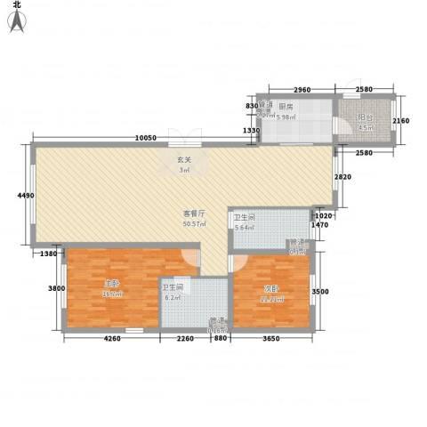 巨华世纪城二期和谐园2室1厅2卫1厨128.00㎡户型图