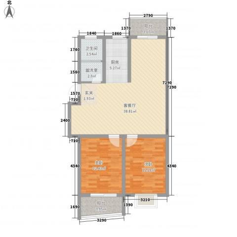 锦盛花园2室1厅1卫0厨107.00㎡户型图