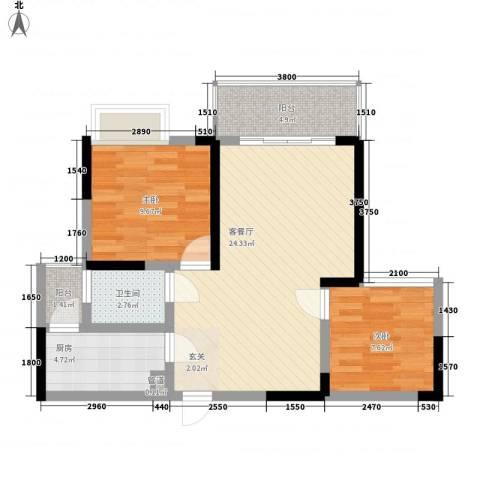 城市印象2室1厅1卫1厨81.00㎡户型图