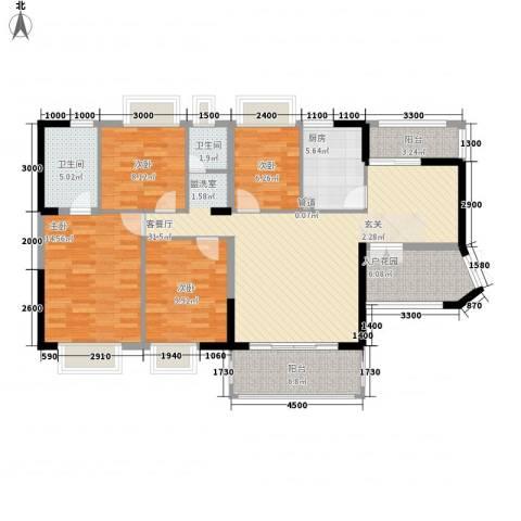 卓越东部蔚蓝海岸别墅4室1厅2卫1厨141.00㎡户型图