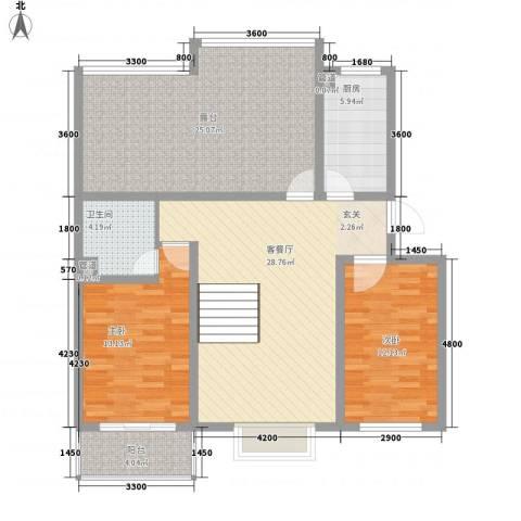 翡翠城2室1厅1卫1厨93.44㎡户型图