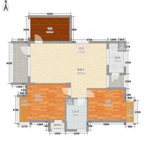 上林雅苑3室1厅1卫1厨135.00㎡户型图