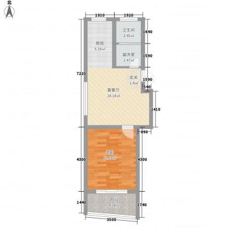锦盛花园1室1厅1卫0厨61.00㎡户型图