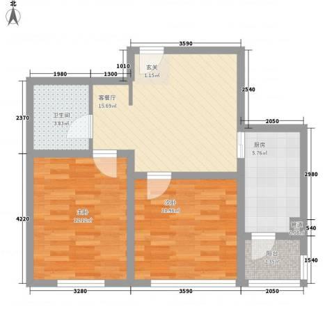 托斯卡纳2室1厅1卫1厨69.00㎡户型图