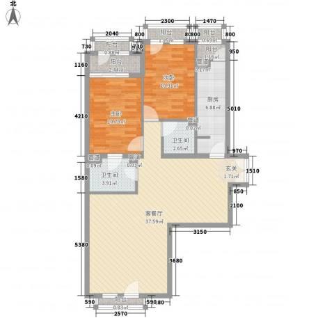 尊域2室1厅2卫1厨114.00㎡户型图