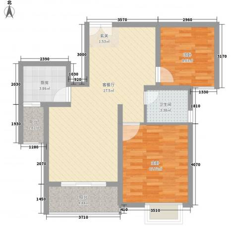 宝盛钻石半岛2室1厅1卫1厨89.00㎡户型图