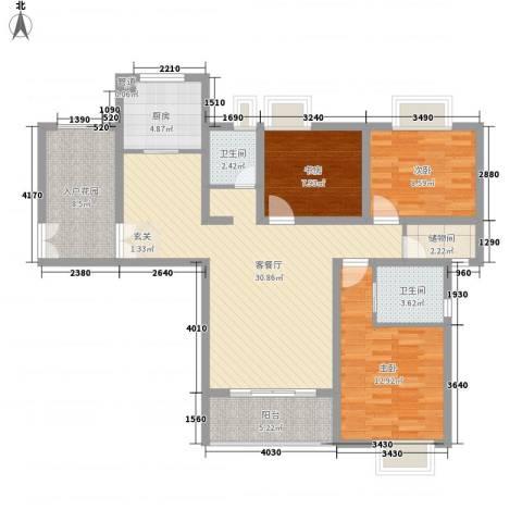 宝盛钻石半岛3室1厅2卫1厨127.00㎡户型图