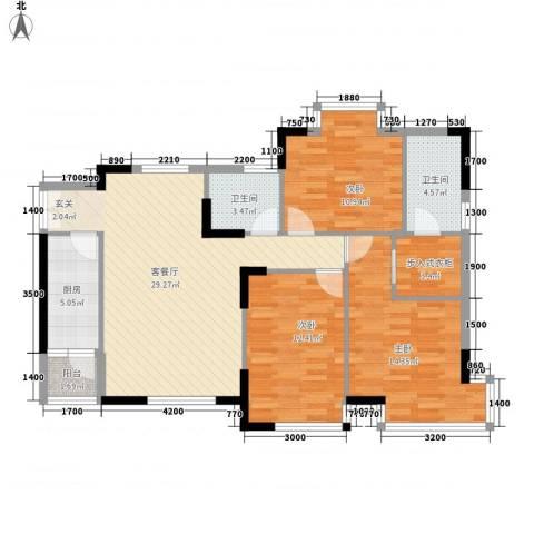 鸿博雅园3室1厅2卫1厨120.00㎡户型图